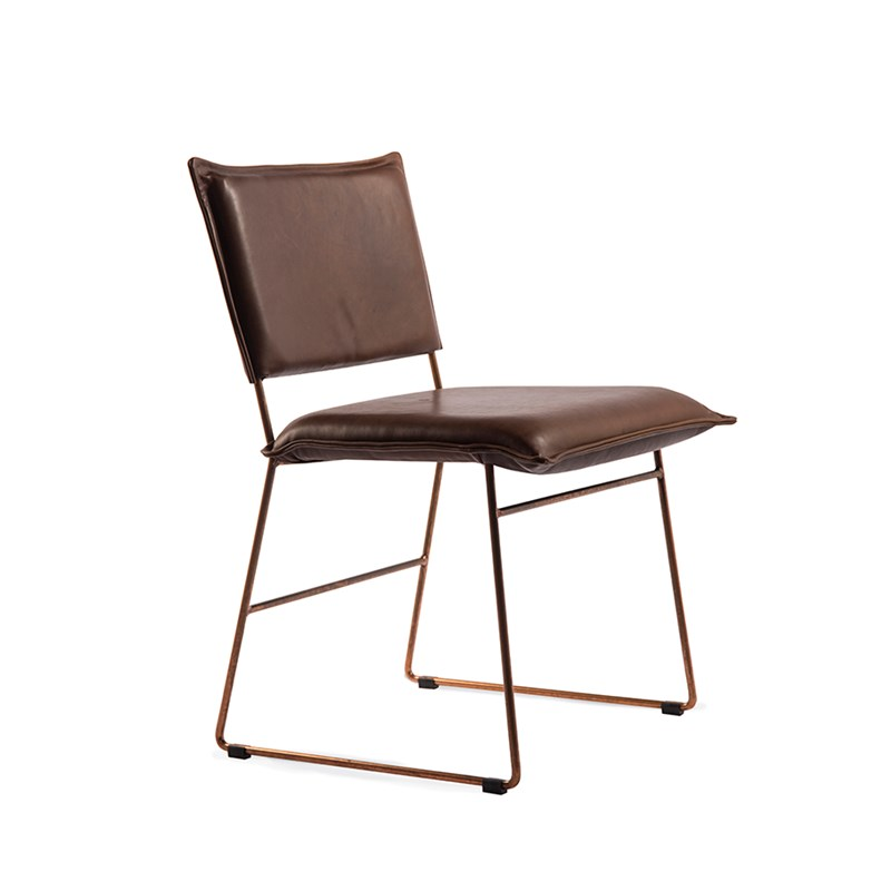 Norman Diningchair Without Arm Copper Frame Luxor Fango Oblique