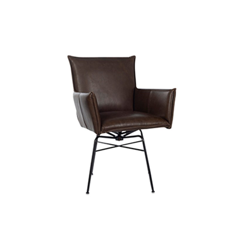 Sanne Diningchair With Arm Swivel Luxor Grey Oblique