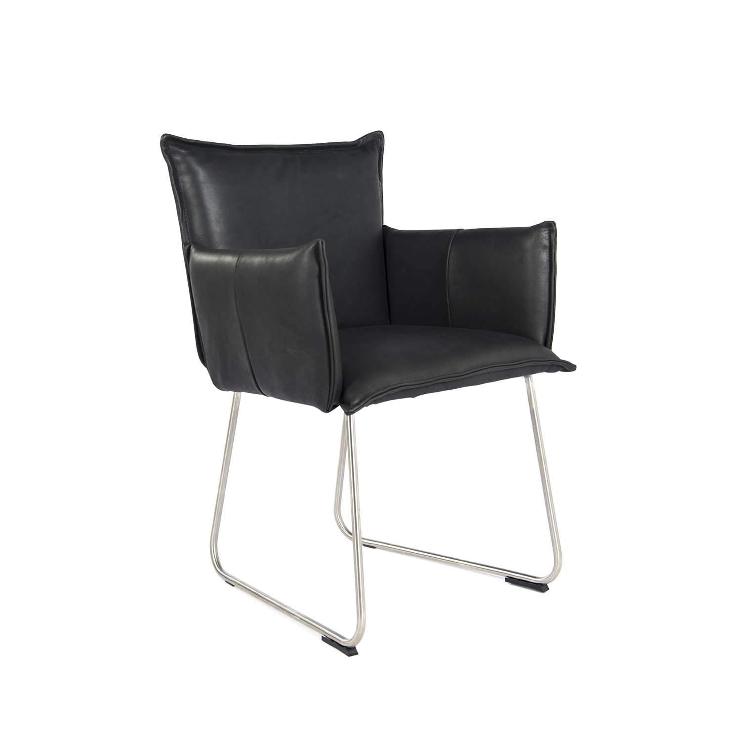 Duke Dining Chair With Arm Stainless Steel Bonanza Black Oblique (1)
